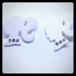 Barbie White Silhouette Stud Earrings